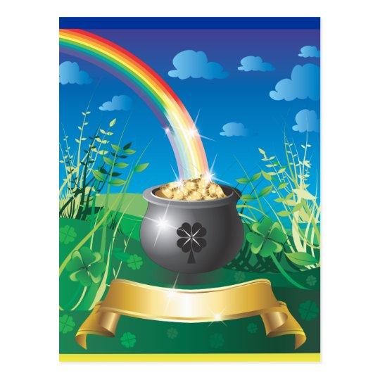 Postal Arco iris del oro del día de St Patrick