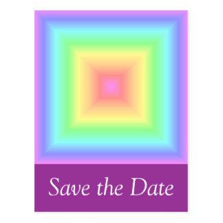 Postal Arco iris en colores pastel geométrico