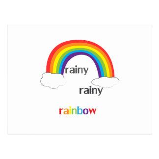 Postal Arco iris lluvioso lluvioso