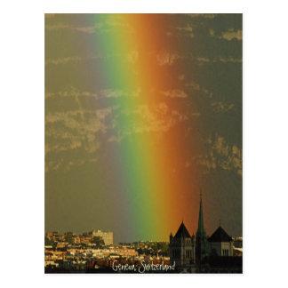Postal arco iris sobre Ginebra