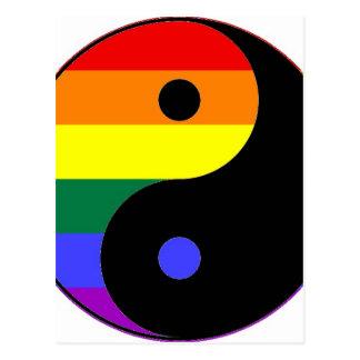 Postal Arco iris Yin y Yang - colores del arco iris del