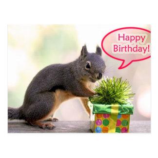 Postal Ardilla del feliz cumpleaños