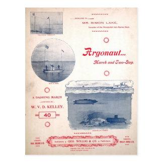Postal Argonauta marzo, submarino temprano, fotografías