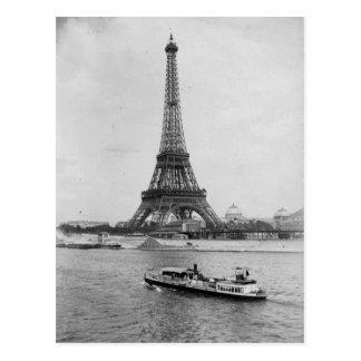 Postal aris, Francia: vista de la torre Eiffel y de río