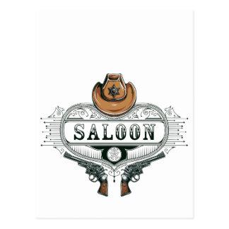 Postal armas del vaquero del vintage del salón