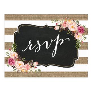 Postal Arpillera de lino RSVP que se casa floral del país