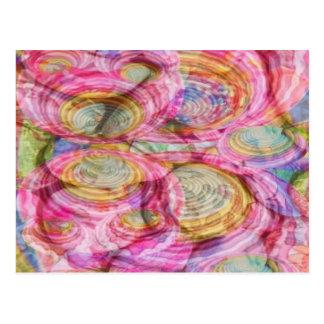 Postal Art101 pintada ROSADA - cáscaras exóticas del mar