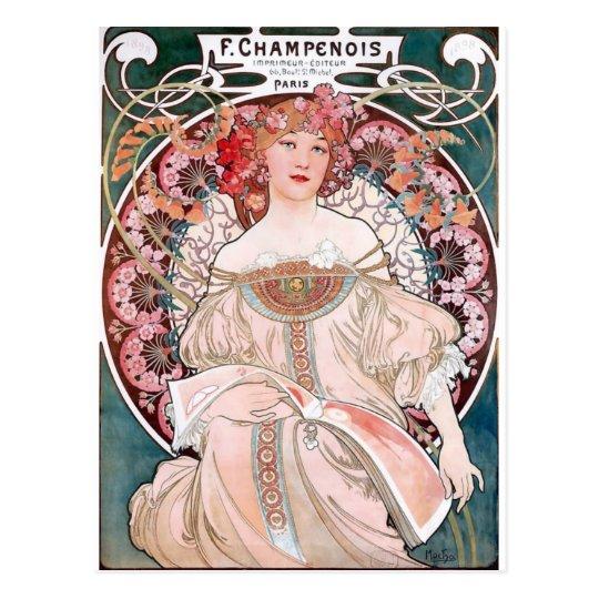 Postal Art déco de la señora del vestido del rosa de