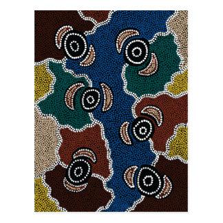 Postal Arte aborigen auténtico - sueño de la orilla