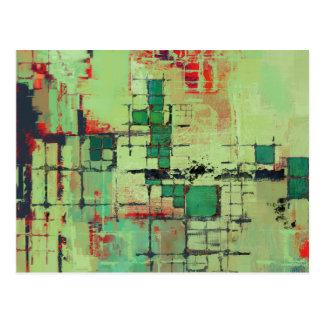 Postal Arte abstracto del enrejado verde