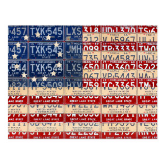 Postal Arte americano de la placa de la bandera del