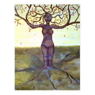 """Postal Arte """"arraigado"""" de la diosa del árbol"""