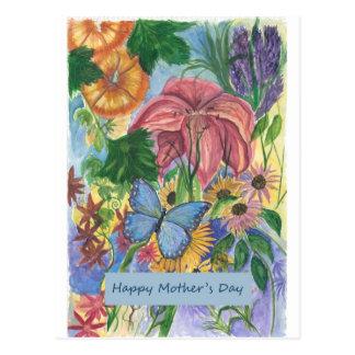 Postal Arte azul de la acuarela del jardín de la mariposa