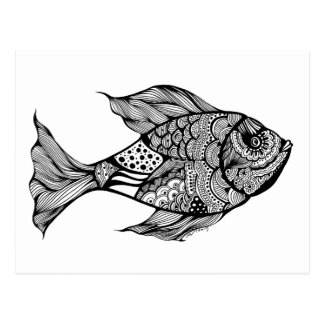 Postal Arte banal del Doodle de los pescados