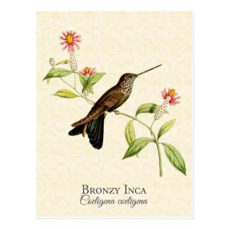 Postal Arte Bronzy del vintage del colibrí del inca