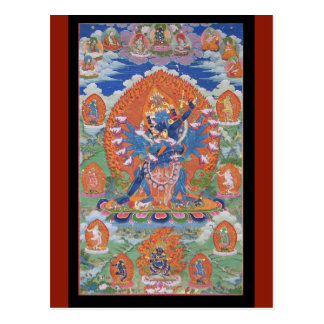 Postal Arte budista tibetano de la deidad de Hevajra