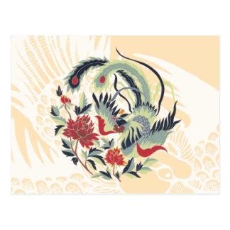 Postal Arte chino del faisán de la buena suerte