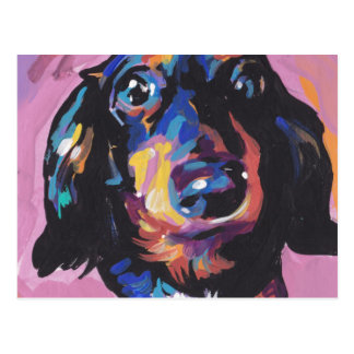 Postal arte colorido brillante del perro del estallido