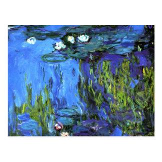Postal Arte de Claude Monet: Agua-Lirios, añil azul