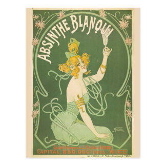 Postal Arte de hadas verde Nouveau del ajenjo
