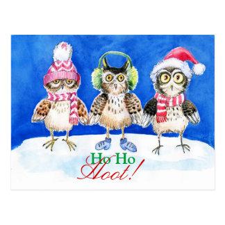 Postal Arte de la acuarela de los búhos del navidad