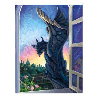 Postal Arte de la fantasía del guarda del Gargoyle