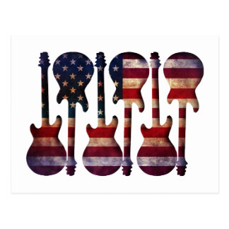 Postal Arte de la guitarra de la bandera americana