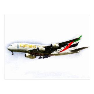 Postal Arte de la línea aérea A380 de los emiratos