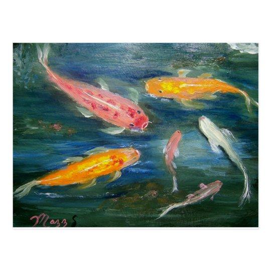 Postal Arte de los pescados de Koi de la natación