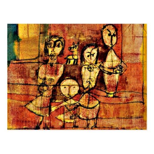 Postal Arte de Paul Klee: Niños y perro
