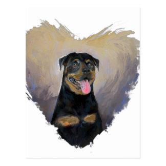 Postal Arte de Rottweiler, amo al impresionista de