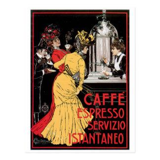 Postal Arte del anuncio de la bebida del café del vintage