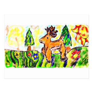 Postal Arte del bosque de los ciervos