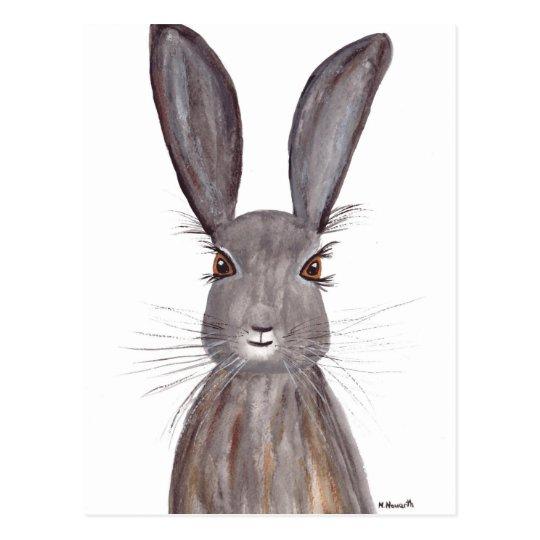 Postal Arte del conejo de la acuarela de las liebres