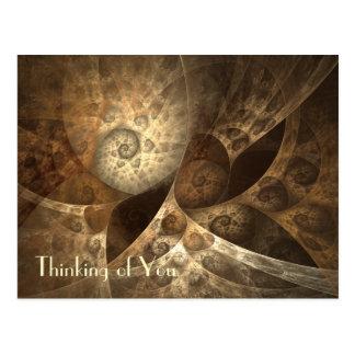 Postal Arte del fractal del canela y del jengibre