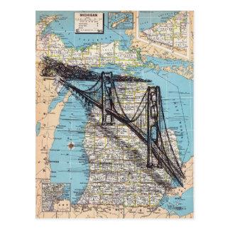 Postal Arte del mapa de Michigan