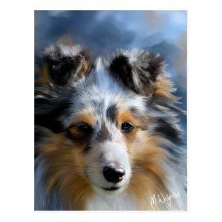Postal Arte del perro pastor de Shetland