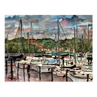 Postal Arte del velero de los barcos de vela del puerto