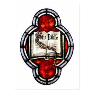 Postal Arte del vitral de la Sagrada Biblia y del rosario