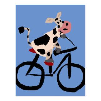 Postal Arte divertido de la bicicleta del montar a