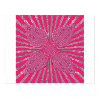 Postal Arte fresco nervioso asombroso hermoso rosado vivo