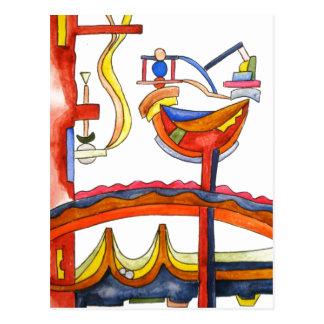 Postal Arte Gallo-Abstracto dominado por la mujer pintado