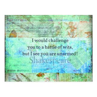 Postal Arte isabelino de Shakespeare de la cita divertida