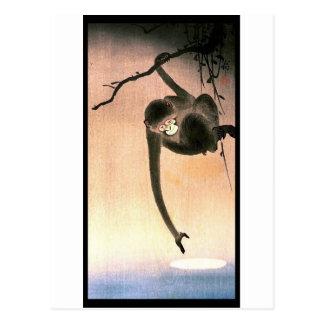 Postal Arte japonés Ukiyo-E de Woodblock del mono que