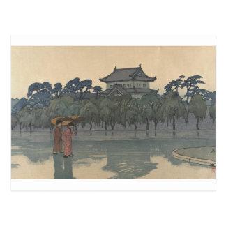 Postal Arte lluvioso japonés del paisaje de Ukiyo-e del
