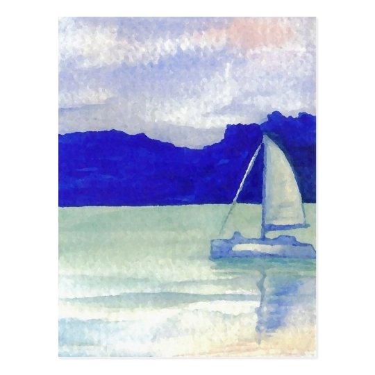 Postal Arte navegante fácil tranquilo del océano de