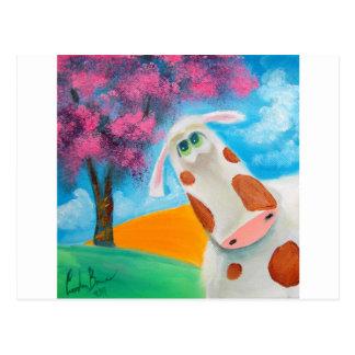 Postal Arte popular de la vaca linda que pinta a Gordon