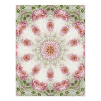 Postal Arte rosado 6 del caleidoscopio de los crisantemos