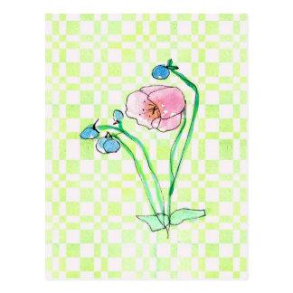 Postal Arte rosado de la flor de la acuarela del