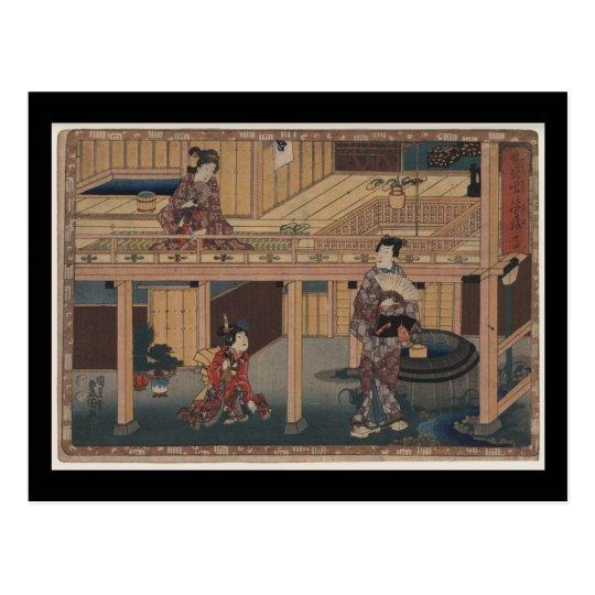 Postal Arte-Toyokuni japonés Utagawa 9 del Postal-Vintage